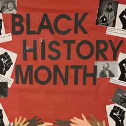 Detail from a Johnson teacher's door saying Black History Month