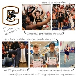 Winter Sports Feb 2020 colleage (basketball, wrestling, track). Call 245-2962 with questions.