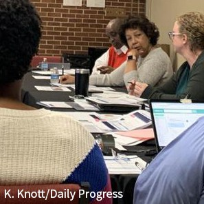 Dr. Atkins and Board members at February 2020 work session. Courtesy K. Knoot/Daily Progress