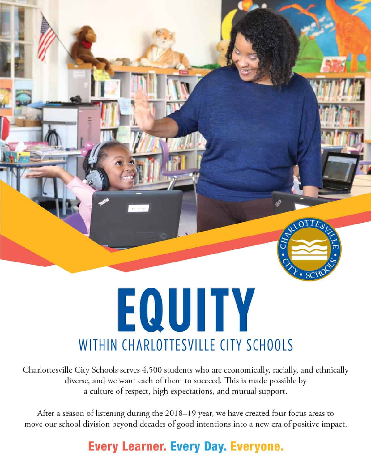 Equity overview. Find a four-page pdf showing this content at link below, by clicking on this image, or here: http://charlottesvilleschools.org/wp-content/uploads/2020/02/10_CCS_Daily-Progress-CCS-Insert_Dec2019.pdf