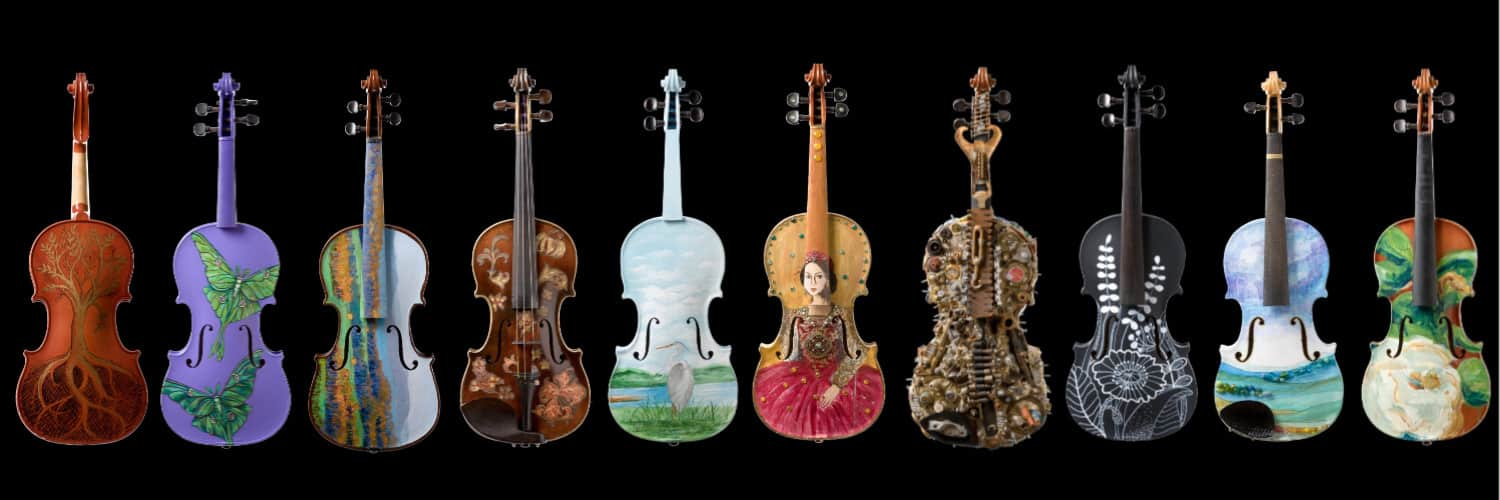 10 painted violins