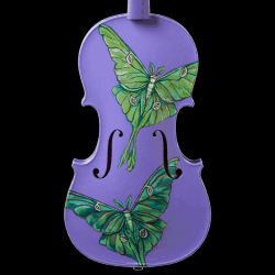 A painted violin by Aaron Eichorst featuring a pair of luna moths on a purple background.