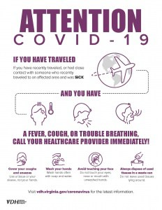 VDH Infographic about Coronavirus symptoms and best practices (fever, cough, sore throat). Wash hands, cover cough, throw away tissue.