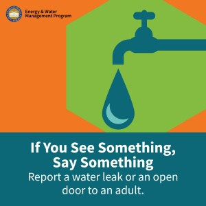 If you see something, say something graphic. Report a water leak or an open door to an adult.
