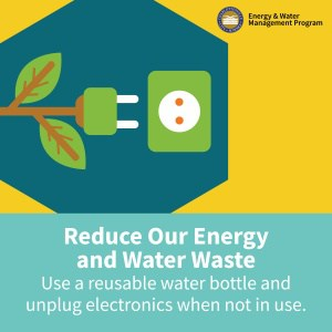 Graphic with message, Reduce our Energy and Water Waste. Use a reusable water bottle and unplug electronics when not in use.