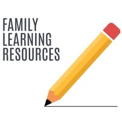 "Illustration of pencil with the words ""Family Learning Resources"""