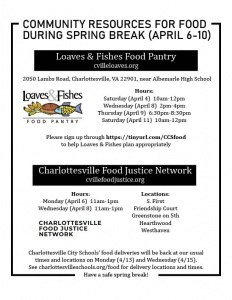 Flyer about food availability during spring break. All information is on the web page (charlottesvilleschools.org/food). Call 245-2962 with questions.