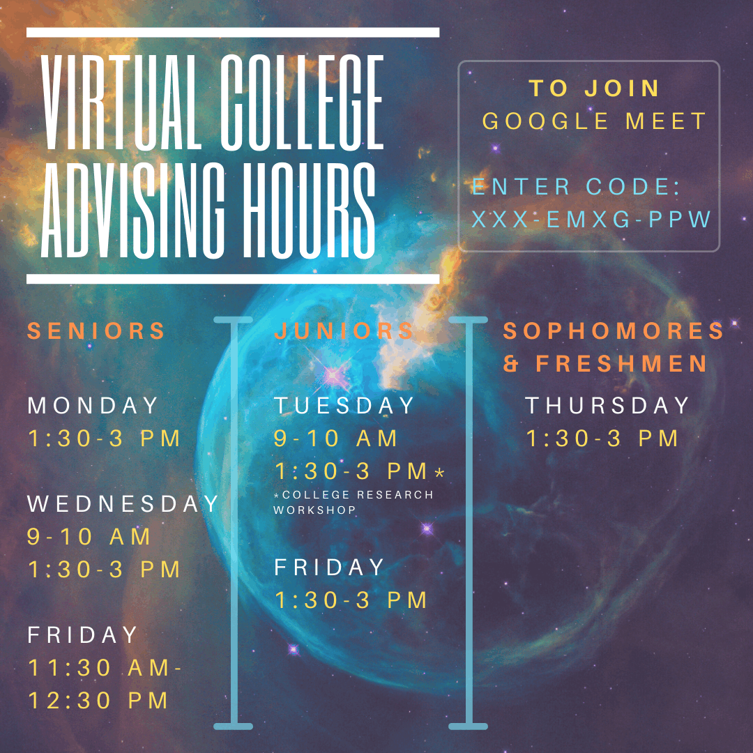 Updated virtual college advising hours graphic