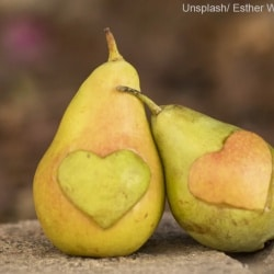 photo of two pears with hearts cut out. Courtesy Unsplash/Esther Wechsler