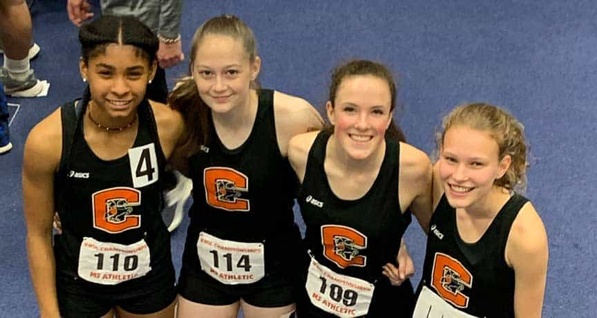 Girls' indoor track state champs in 4x400 relay