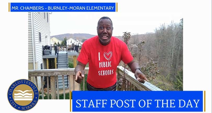Burnley-Moran teacher Ernest Chambers virtually leading the Avocado Dance