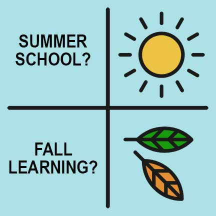 "illustration of sun and leaves with words ""summer school/fall learning"""