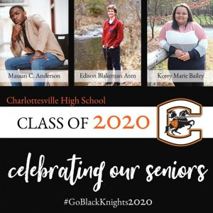 CHS senior celebrations graphic, showing 3 CHS seniors