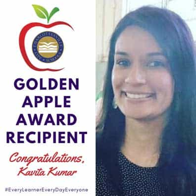 Ms. Kumar, Greenbrier's Golden Apple Winner for 2020
