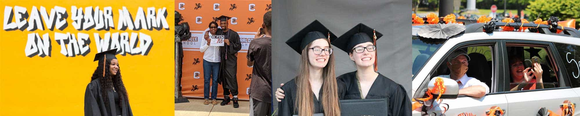 Collage of graduates at CHS Victor Lap drive-through event