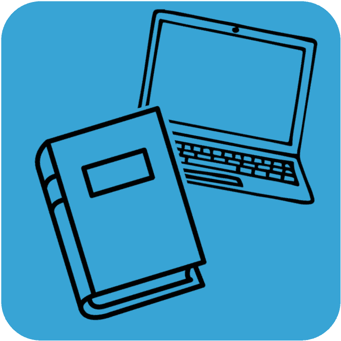 illustration of book and computer