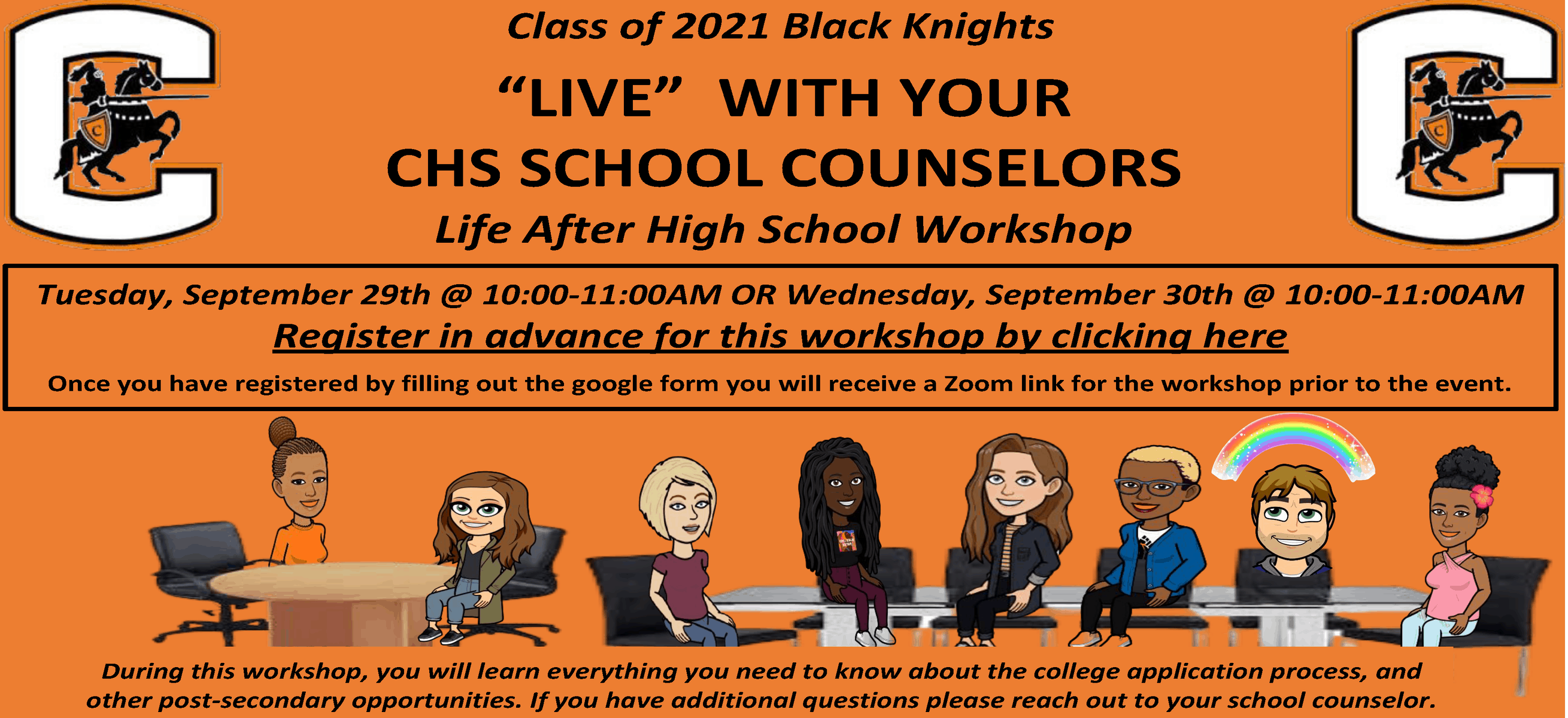 flyer screenshot of Live with your CHS Counselors workshop
