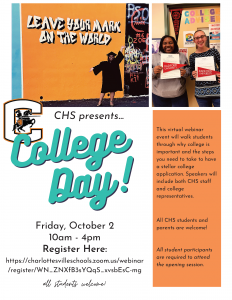 College Day virtual workshop flyer page 1