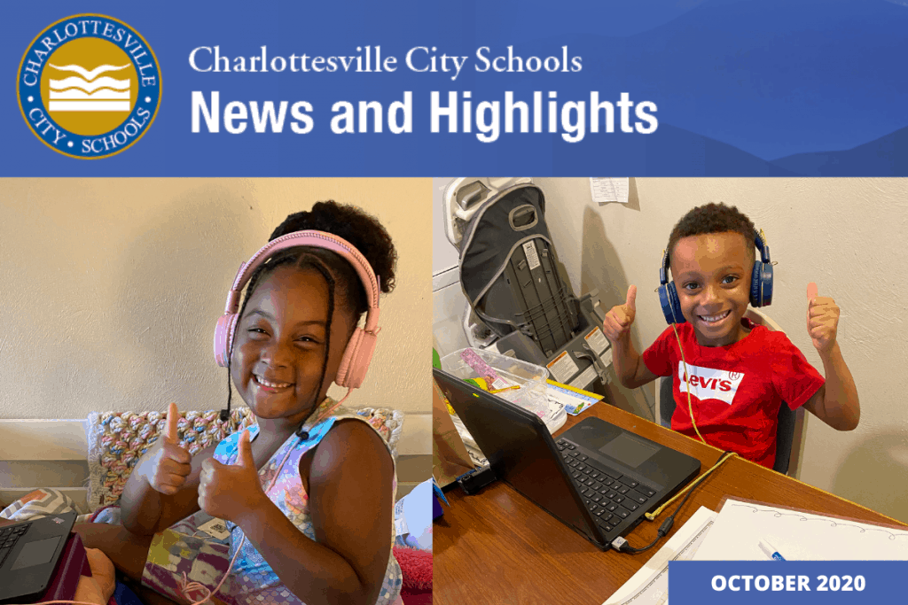 News and Highlights October 2020 with pictures of children learning virtually