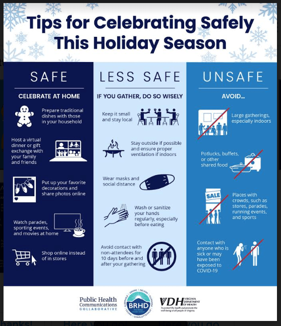 TJHD flyer for celebrating safely this holiday season (English)