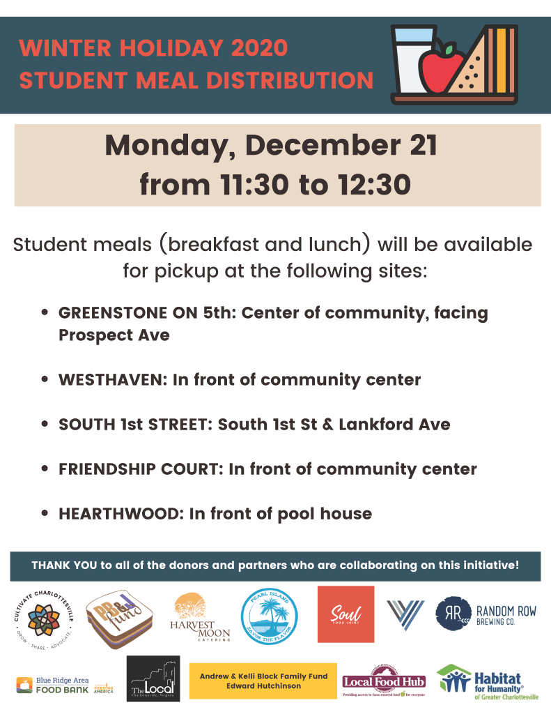 winter holiday student meal delivery on Monday, December 21