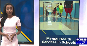 Screenshot of CBS19 news report on mental health partnership with UVA