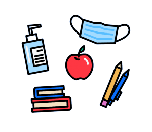 COVID school supplies (mask, hand sanitizer, books, pens, apple)