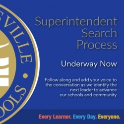 Graphic announcing Superintendent Search process and inviting public input.