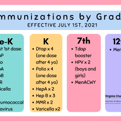 Immunizations by Grade Effective July 1st, 2021 Pre-K At least 1st dose: DTaP Polio HepA HepB MMR Varicella Hib Pneumococcal Rotavirus K Dtap x 4 (one dose after 4 yo) Polio x 4 (one dose after 4 yo) HepA x 2 HepB x 3 MMR x 2 Varicella x2 7th Tdap booster HPV x 2 (boys and girls) MenACWY 12th Men ACWY